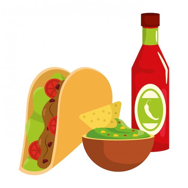 Caricature de délicieux plats mexicains Vecteur Premium