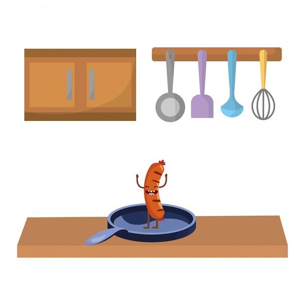 Caricature de délicieux plats savoureux Vecteur Premium