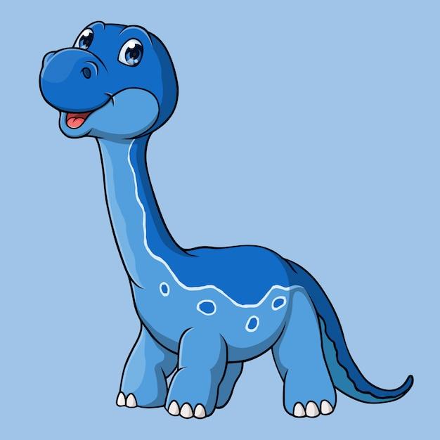 Caricature de dinosaure brontosaure, dessiné à la main, vecteur Vecteur Premium