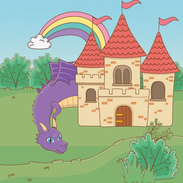 Caricature de dragon isolé Vecteur gratuit