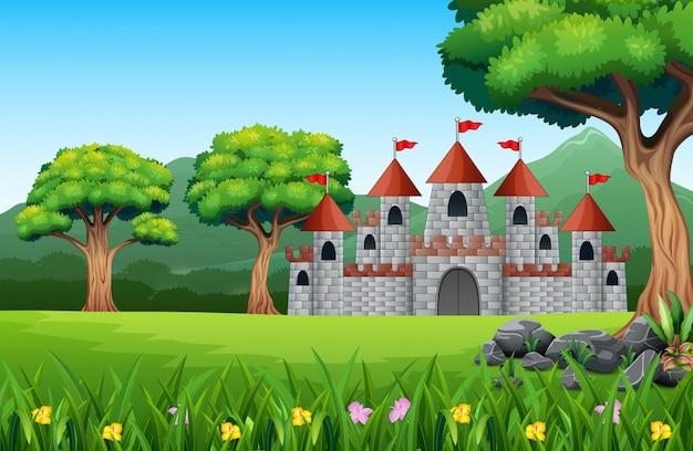Caricature du château de conte de fées avec paysage naturel Vecteur Premium