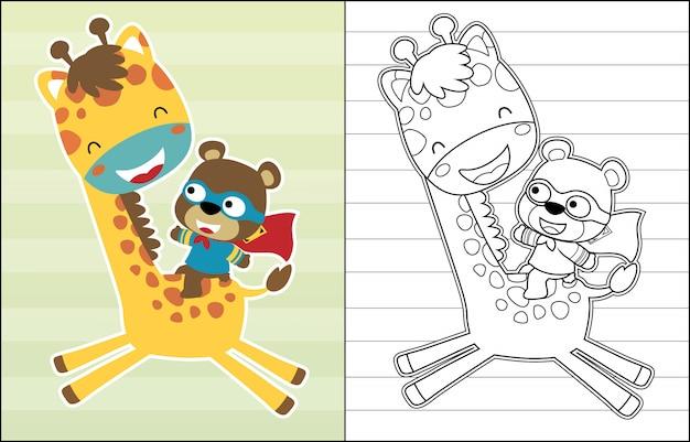 Caricature du petit ours chevauchant une girafe Vecteur Premium