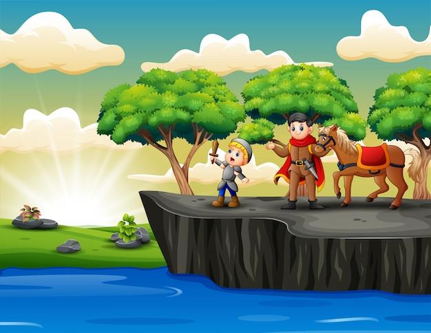 Caricature du prince avec un chevalier debout sur la falaise Vecteur Premium