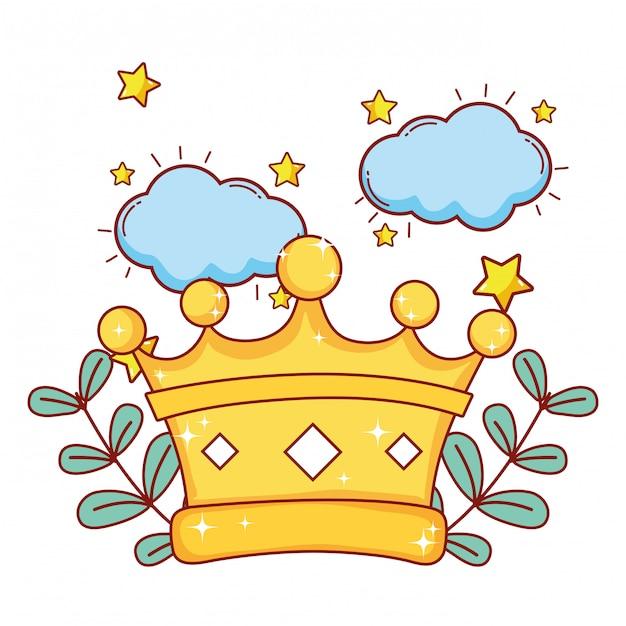 Caricature du roi couronne Vecteur Premium