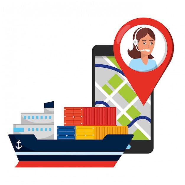 Caricature du service logistique d'assistance client Vecteur Premium