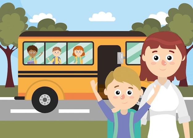 Caricature d'école primaire Vecteur Premium