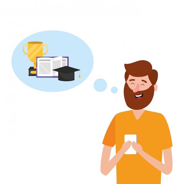 Caricature d'éducation en ligne Vecteur Premium