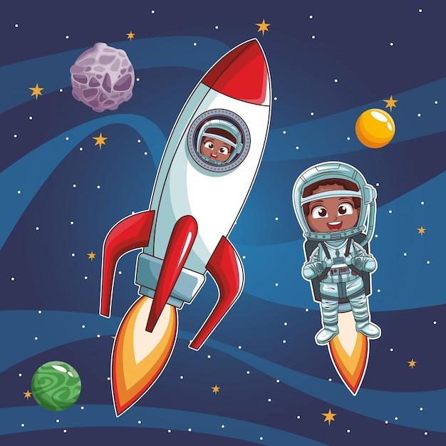 Caricature d'enfants astronautes Vecteur Premium