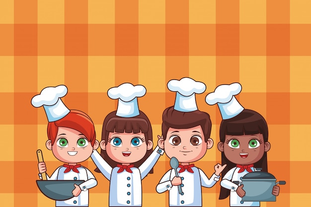 Caricature d'enfants mignons de chef Vecteur Premium