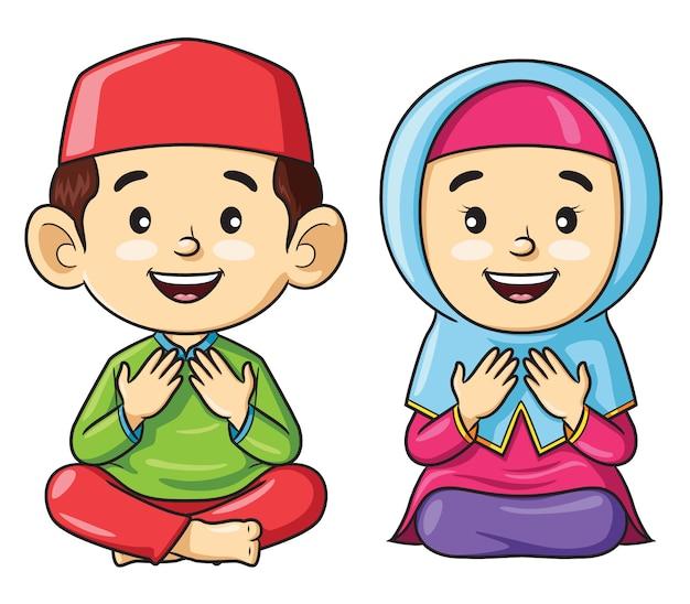 Caricature d'enfants musulmans assis tout en priant Vecteur Premium