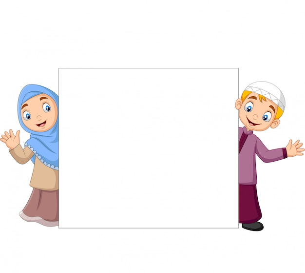 Caricature d'enfants musulmans heureux avec signe vierge Vecteur Premium