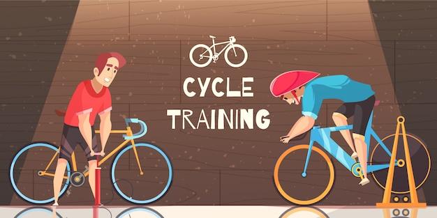 Caricature d'entraînement à la course cycliste Vecteur gratuit