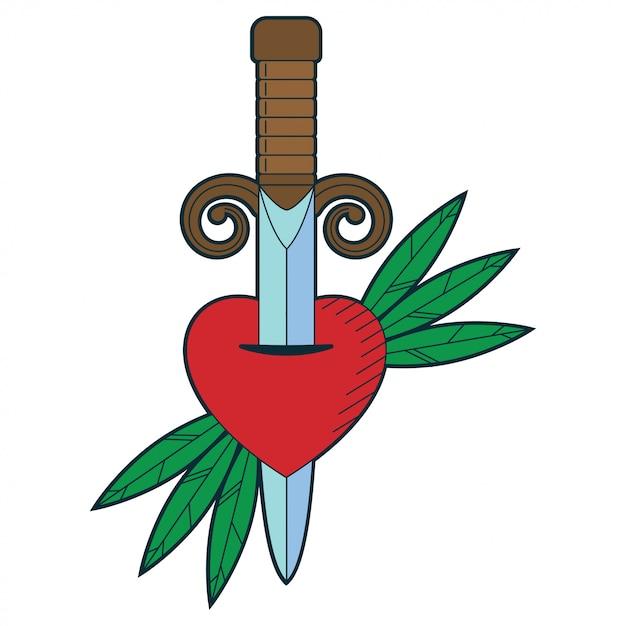 Caricature d'épée et de coeur traditionnelle Vecteur Premium