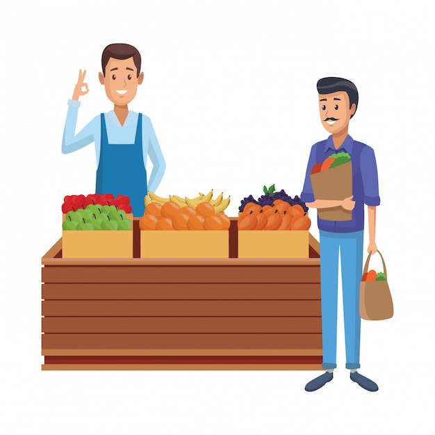 Caricature de l'épicerie Vecteur Premium