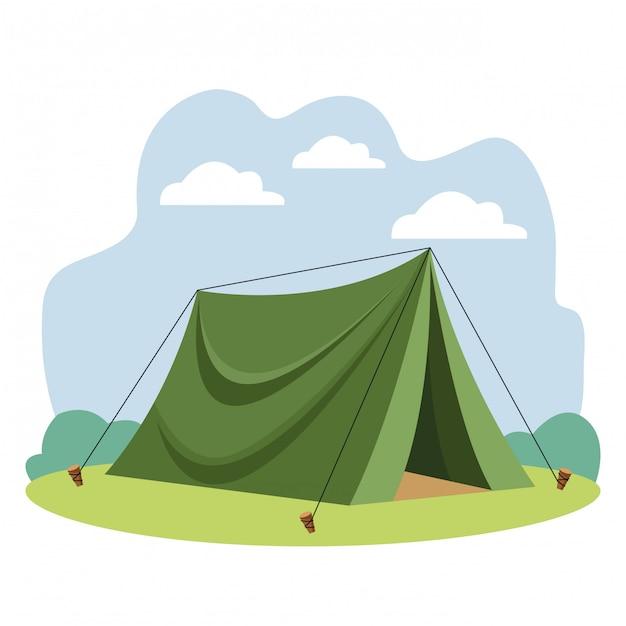 Caricature d'équipement de tente de voyage de camping Vecteur Premium