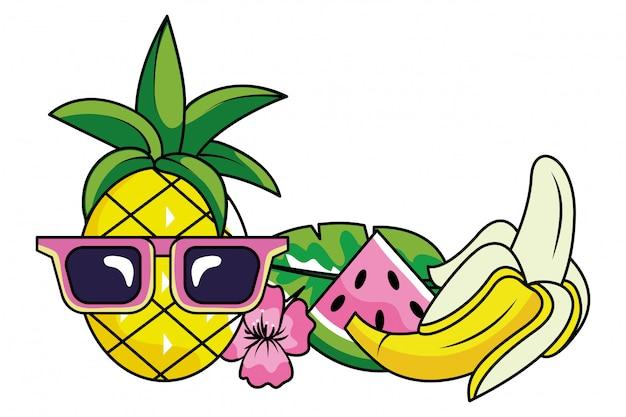 Caricature d'été tropical Vecteur Premium