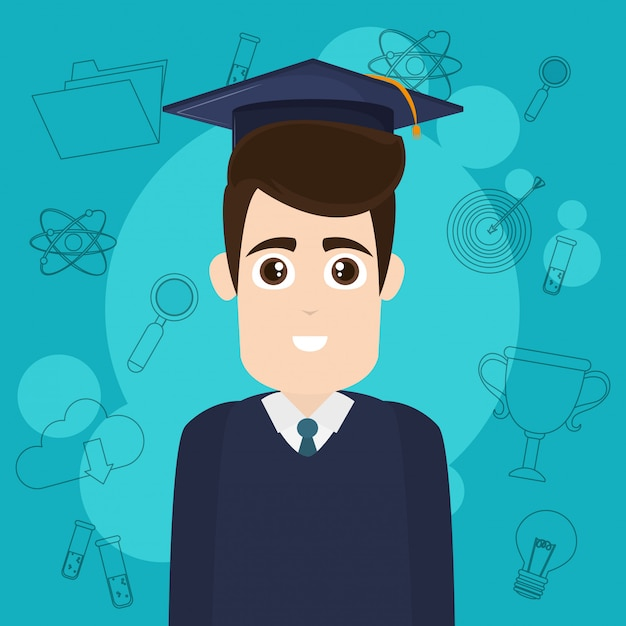 Caricature d'étudiant universitaire Vecteur Premium