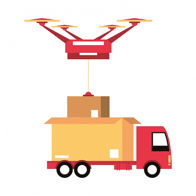 Caricature d'expédition logistique et logistique Vecteur Premium