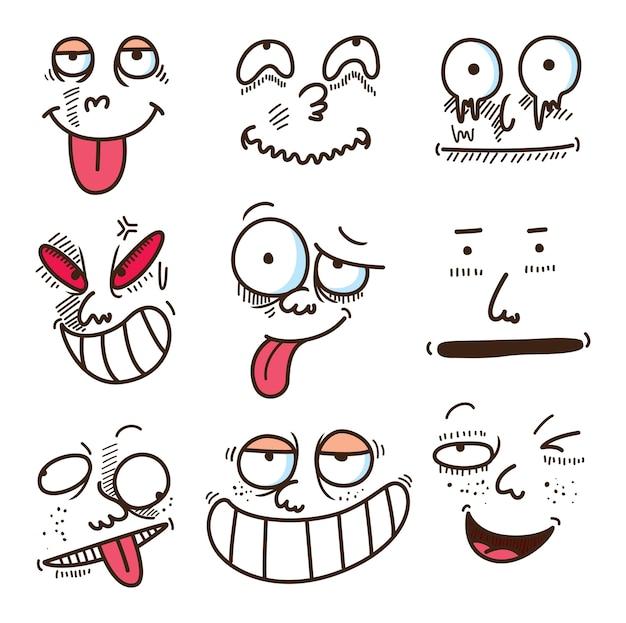 Caricature expression visage Vecteur Premium