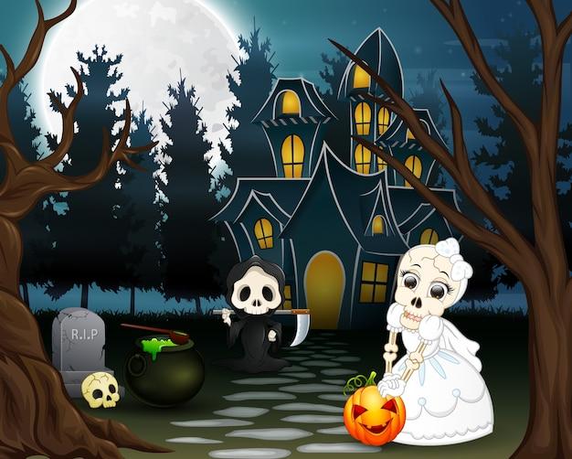 Caricature de la faucheuse et crâne mariée au jour de l'halloween Vecteur Premium