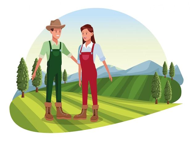 Caricature de ferme, animaux et fermier Vecteur Premium