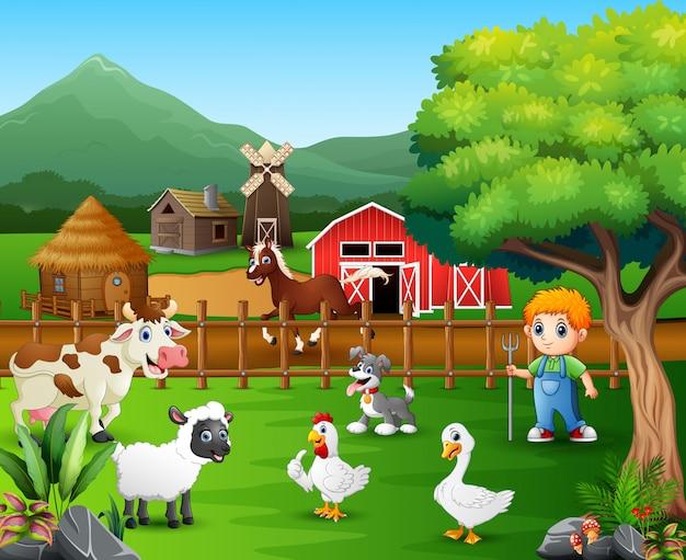 Caricature d'un fermier dans sa ferme avec un groupe d'animaux de la ferme Vecteur Premium