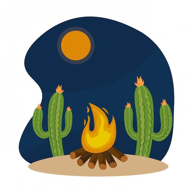 Caricature de feu de bois Vecteur Premium