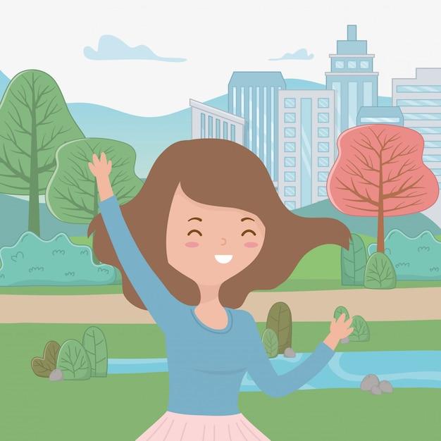 Caricature de fille adolescente Vecteur gratuit