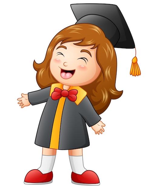Caricature de fille heureux graduation Vecteur Premium