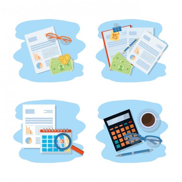 Caricature de finances personnelles Vecteur Premium