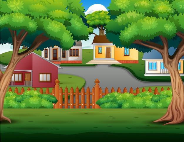 Caricature de fond avec de belles maisons de campagne confortables Vecteur Premium