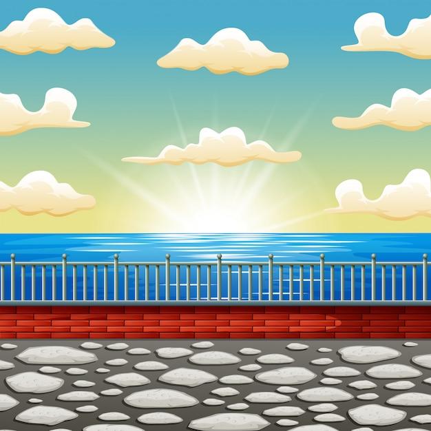 Caricature de fond une scène de mer magnifique lever du soleil Vecteur Premium