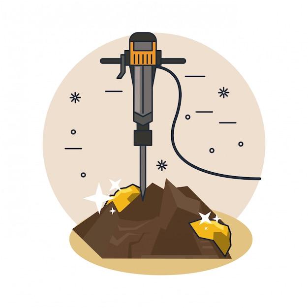 Caricature de forage au sol Vecteur Premium