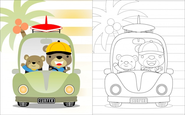 Caricature de frères ours sur une voiture, Vecteur Premium