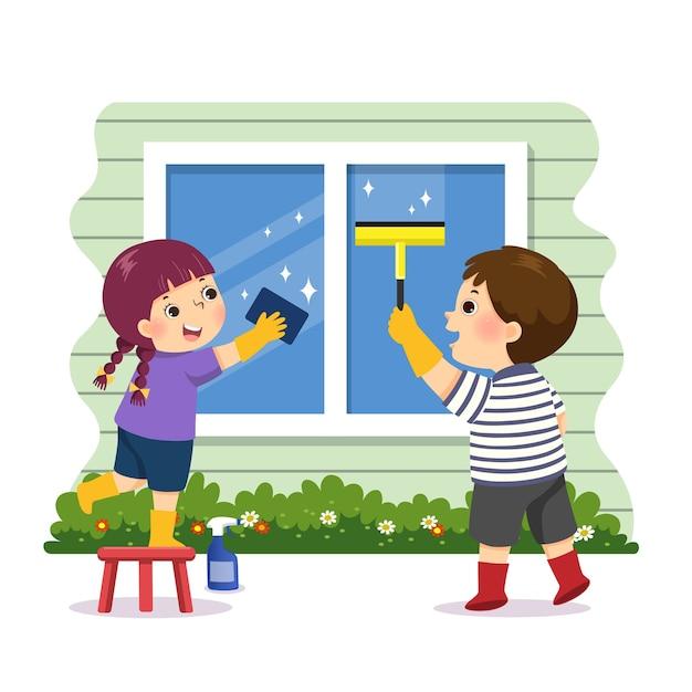 Caricature De Frères Et Sœurs Aidant à Nettoyer La Fenêtre à La Maison. Enfants Faisant Des Tâches Ménagères Au Concept De La Maison. Vecteur Premium