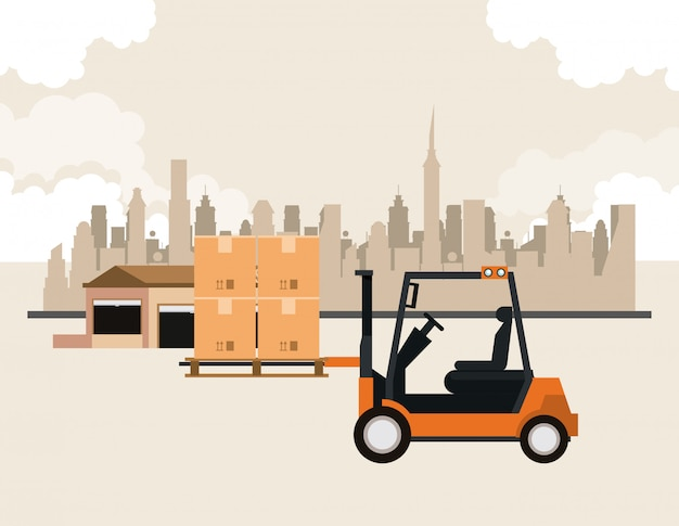 Caricature de fret logistique transport marchandises Vecteur gratuit