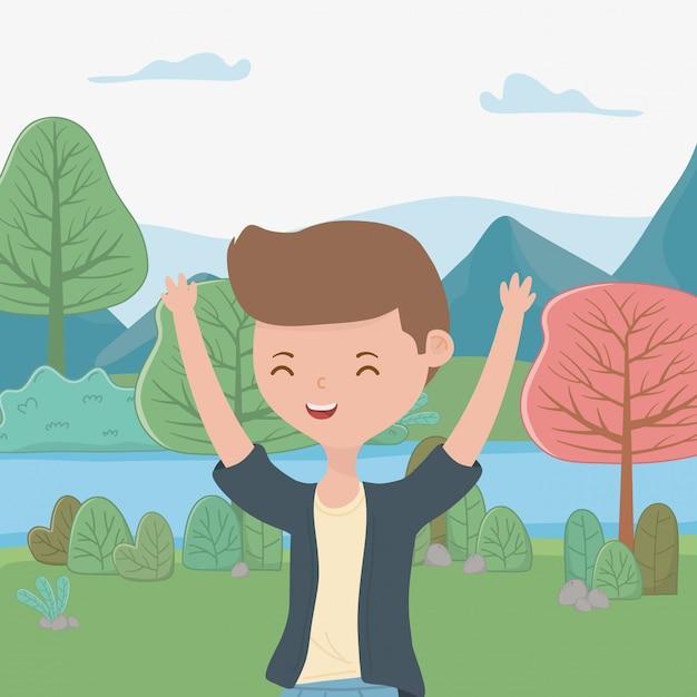 Caricature de garçon adolescent Vecteur gratuit