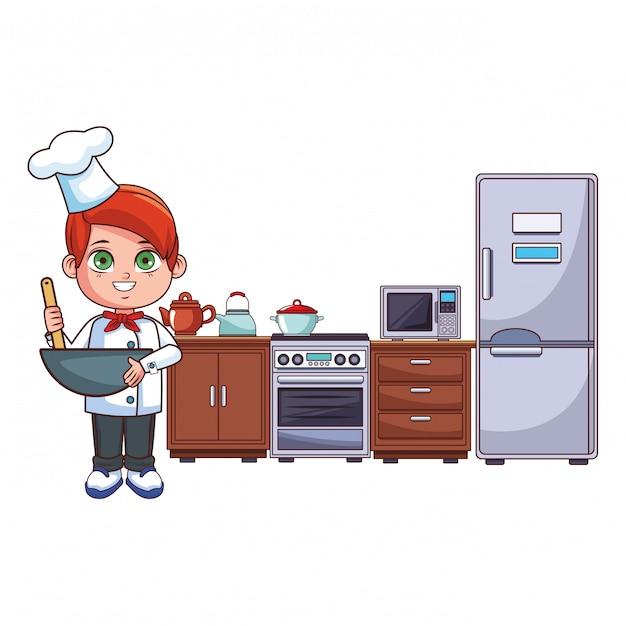 Caricature de garçon chef Vecteur Premium