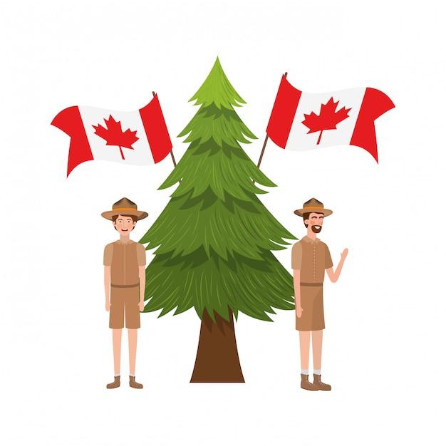 Caricature de garçon et homme de garde forestier Vecteur gratuit