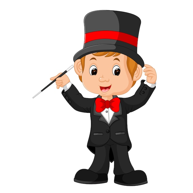 Caricature de garçon magicien Vecteur Premium