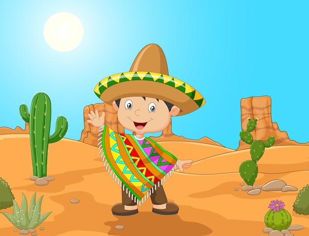 Caricature d'un garçon mexicain agitant la main Vecteur Premium