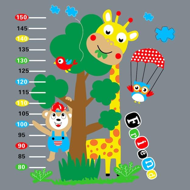Caricature de girafe animaux autocollant mural Vecteur Premium
