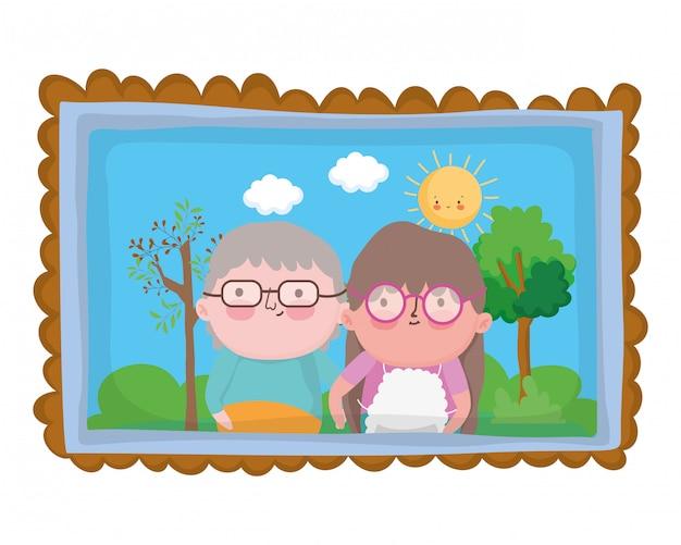 Caricature de grand-mère et grand-père Vecteur Premium