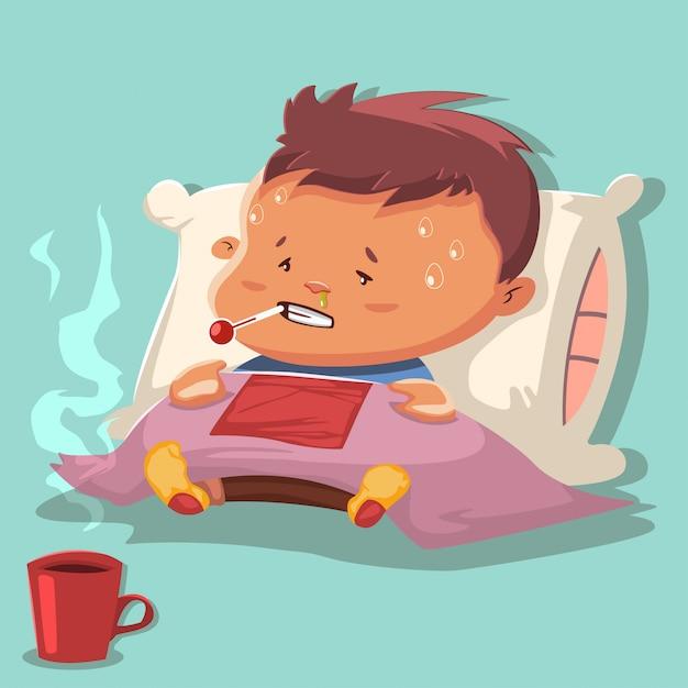 Caricature de la grippe avec un personnage d'enfant malade sur un oreiller et recouvrant une couverture Vecteur Premium