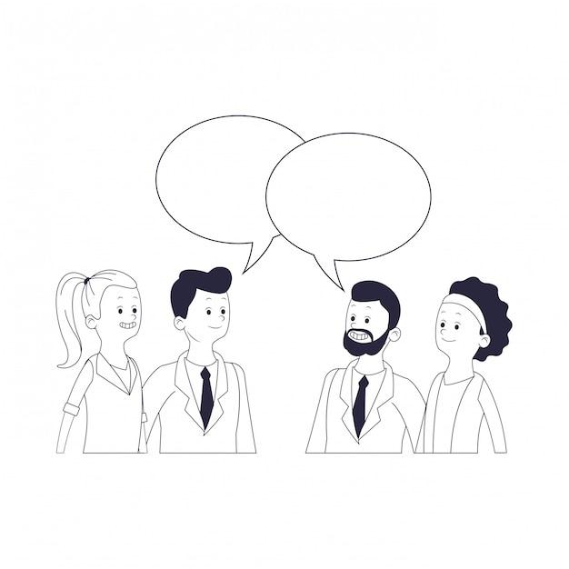 Caricature de groupe d'amis Vecteur Premium