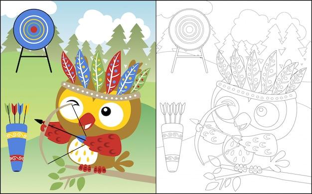 Caricature de hibou avec coiffe de plumes de l'archer Vecteur Premium