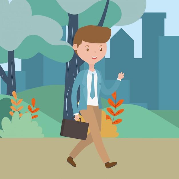 Caricature de l'homme dans le parc Vecteur gratuit