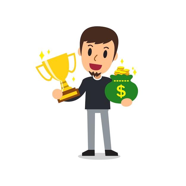 Caricature d'un homme tenant un trophée et un sac d'argent Vecteur Premium