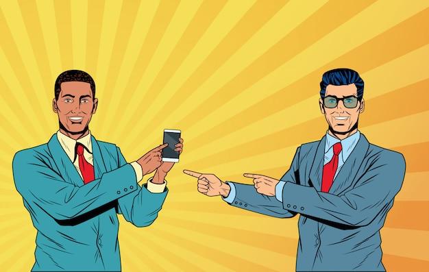 Caricature d'hommes d'affaires pop art Vecteur Premium