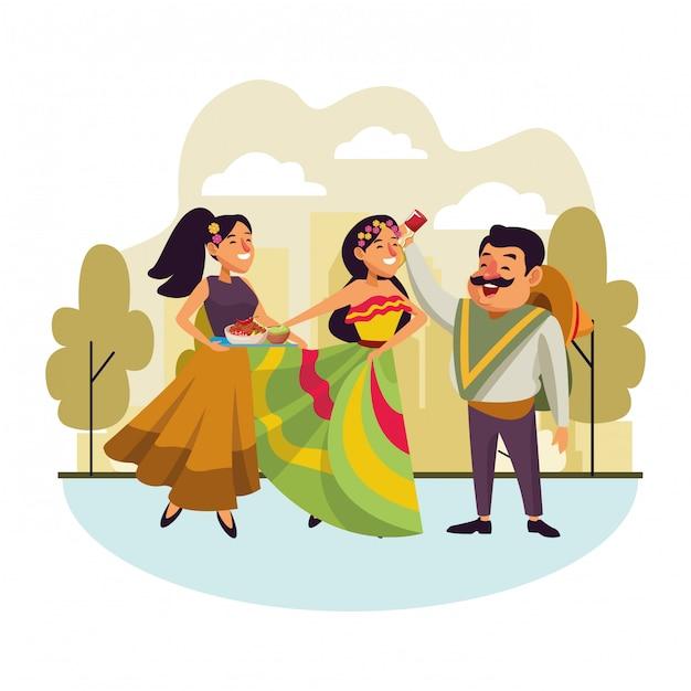 Caricature d'icône de la culture traditionnelle mexicaine Vecteur gratuit